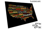 Map of USA state names word cloud typography Art black - Media Choice - Wall Art