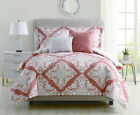 9 Piece Dresden Coral/Ivory Reversible Bed in a Bag w/500TC Cotton Sheet Set