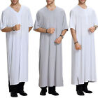 Mens Saudi Style Thobe Dishdash Jubba Arab Robe Islamic Clothing Garment Long