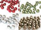 CHRISTMAS SPECIAL - GLASS PEARL BEAD PACK RED GREEN SILVER JEWELLERY CRAFT BEADS