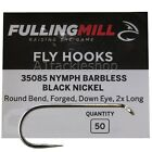 Fulling Mill 35085 Barbless Black Nymph Fly Tying Hooks