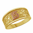 Sweet 15 Anos Quinceanera Te Amo Oro Yellow Gold Ring Size 3 to 9