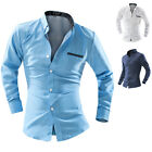 Men Casual Slim Fit Stylish Long Sleeve Dress Shirts Tops Fashion Formal Shirts