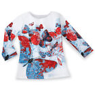 """Women's Embellished Patriotic Americana Butterfly 3/4"""" Long Sleeve Top"""