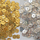 Sequins Sunburst/Starburst/Wheels Paillette Silver or Gold 6mm Loose ~200 pieces