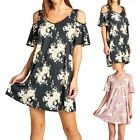 Floral Print Cold Shoulder Ruffled Sleeve Thigh Length V Neck Dress Casual S M L