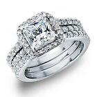 Women's 3.28 CTW Princess Cut 925 Sterling Silver CZ Wedding Engagement Ring Set