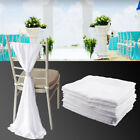 10 Pcs Wedding Cover Chair Fancy Chiffon White Ivory Chairs Covers Hood New