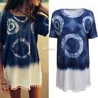 New Fashion Women Short Sleeve Casual Loose Mini Straight Shift Dress DZ88