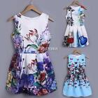 New Lady Women's O-neck Sleeveless Knee Length 4Types Retro Floral DZ88