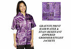 FASHION Purple Print STYLIST BARBER GROOMER JACKET Coat Hair Water Resistant