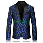 Mens Coats Business Chic Floral Luxury Casual One Button Blazers Slim Fit Jacket
