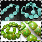 21mm, 25mm Blue or Green Turquoise Gems Square / Eight Side Spacer Beads 16""