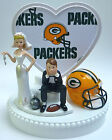 Wedding Cake Topper Green Bay Packers Themed Football Ball & Chain w  Garter Fun