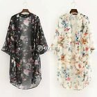 2017 Women Vintage Floral Loose Shawl  Cardigan Boho Chiffon Coat Jacket Blouse