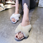 Candy colors open toe womens slip slops faux fur strap flat indoor shoes A664