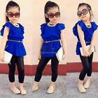Mode Baby Girls Butterfly Sleeve hohe Taille Bluse Tops Slim Pant zwei JTOO