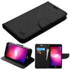 for LG X Charge M327 NEW BLACK WALLET LEATHER SKIN STAND ACCESSORY COVER CASE