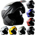 7 Color Dual Visor Flip UP Open Face Motorcycle Helmet Motorcross Ride Modular