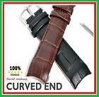 Luxury CURVED END/ENDED Genuine Calf Leather Watch Strap. Croco 20mm 22mm & 24mm