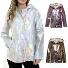 New Womens Silver Iridescent Pearlescent Waterproof Festival Rave Rain Mac Coat