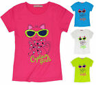 Girls Cat Print Short Sleeved T Shirt New Kids Summer Beach Tops Ages 3-12 Years