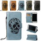 Skull Pattern PU Leather Wallet Case Stand Flip Cover for iPhone 5 SE 6 S 7 Plus