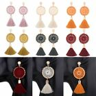 Charm Thread Long Dreamcatcher Tassel Drop Statement Fringe Stud Earrings Women