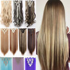 Full Head Real Thick Clip In Hair Extensions 8Pcs 18Clips On Long Straight Fh7