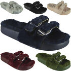 New Womens Ladies Comfy Faux Fur Buckle Sliders Flats Shoes Slides Slippers Size