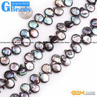 Natural Coin Freshwater Pearl Top-Drilling Jewelry Making Beads Free Shipping