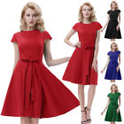 BP Retro Vintage Solid Color Cap Sleeve Crew Neck Swing Party A-line Lady Dress
