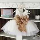 US Infant Baby Girl Birthday Wedding Pageant Party Princess Lace Bow Tutu Dress