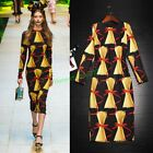 Occident Long Sleeve Stylish women's printed bead Bowknot Vogue knee dress Hot