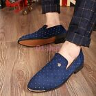 Mens Slip On Pointy Toe Loafers Hidden Heel Rivet Studded Dress Leisure Shoes