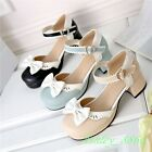 Mary Janes School Girls Bowknot Buckle Strap Round Toe Chunky Heel Lady Shoes