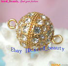 12mm Crystal Inlayed Gold Plated Ball Clasp for Jewelry Making Design Wholesale