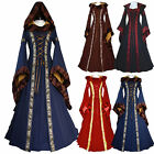 Women's Gothic Medieval Dress Vintage Victorian Renaissance Dress Hooded Costume