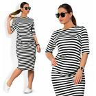 Plus Size Women Comfortable Slim Striped 3/4 Sleeve Dress Casual Dress Jumper