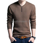 Fashion Man Sweater Knitted Sweater V Neck Long Sleeve Coat Solid Tops 4XL KUS