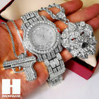 New Iced Out Lab Diamonds Silver Lion Head Hand Gun Techno Pave Dope Watch CS18 image