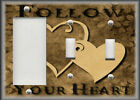 Metal Light Switch Plate Cover - Follow Your Heart - Brown Home Decor Hearts