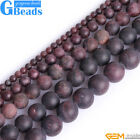 Natural Antiqued Red Garnet Gemstone Frost Matte Round Beads Free Shipping 15""