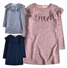 Girls Shift Dress New Kids Ruffle Winter Long Sleeved Dresses Ages 3 - 12 Years