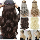 Real Thick AS Human Hair 1Piece Full Head Clip In Hair Extensions Straight hg90