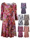 Womens Plus Size Printed Skater Dress 3/4 Sleeve Floral Ladies New Size 16-32