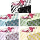 150x220cm Coloured Plastic PEVA Polka Dot Tablecloth Wipe Clean Wipeable Kitchen