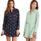 UMGEE Women's Navy Green Retro Vintage Button Up Long Sleeve Woven Dress S M L
