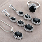 Chic 925 Silver Jewelry Oval Cut Black Topaz Rings Necklace Pendant Earrings Set