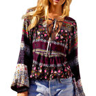 Womens girl Lace Floral Up Deep V Collar Blouse Long Sleeve Cool Shirt Tops